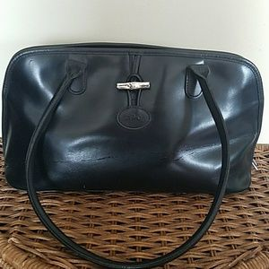 LONGCHAMP Vintage Roseau Blk Leather Shoulder bag